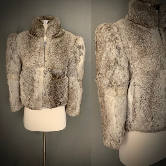 1970's Distressed Rabbit Cropped Fur Glam New Wave
