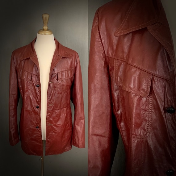 1960's Reed Sportswear Red Leather Boho Jacket