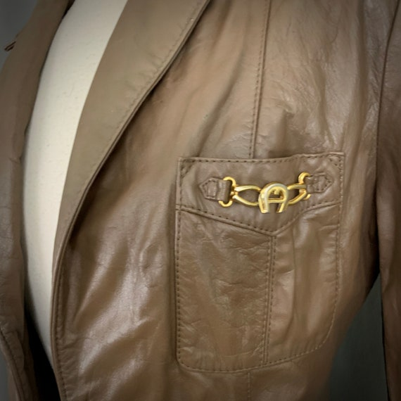 1970's Women's Taupe Brown Leather Fall Blazer Ja… - image 5
