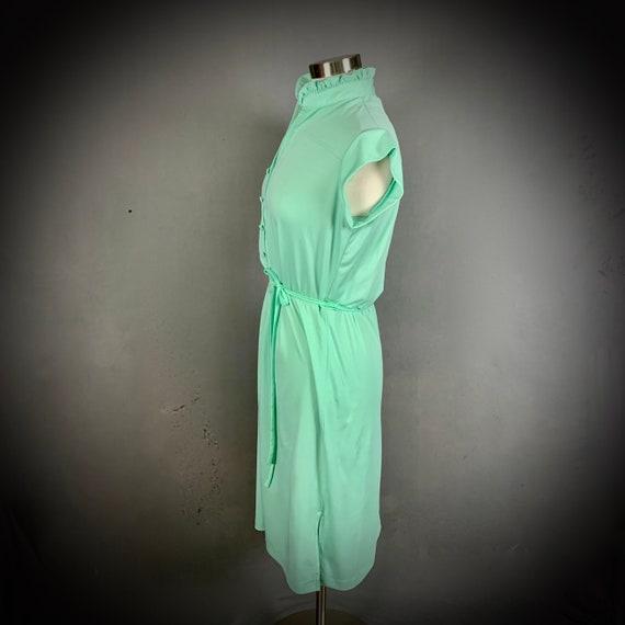 Vintage 70's Mint Green Short Sleeve Disco Dress - image 5