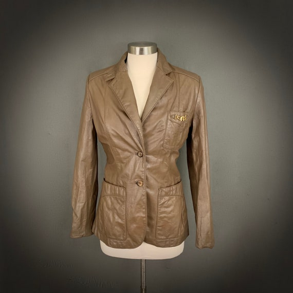 1970's Women's Taupe Brown Leather Fall Blazer Ja… - image 3