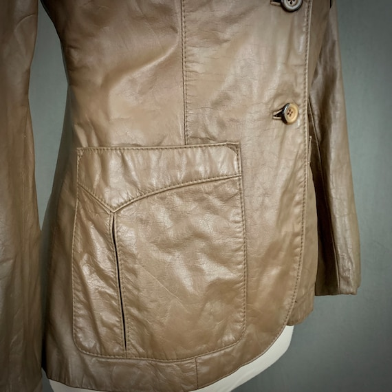 1970's Women's Taupe Brown Leather Fall Blazer Ja… - image 2