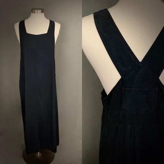 1980's Linen Rayon Black Pinafore Dress Jumper Ove