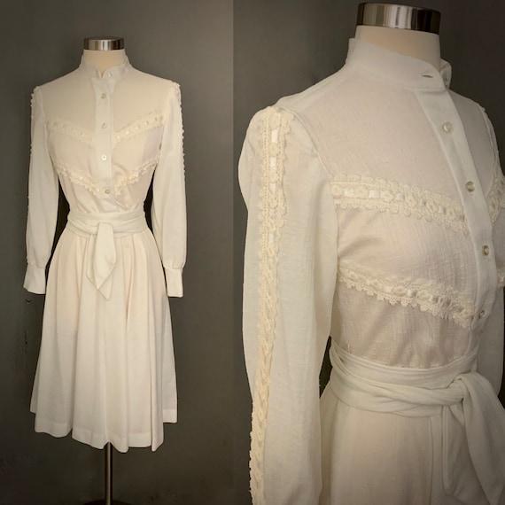 1970's White Long Sleeve Band Color Boho Dress