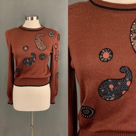 1980's Piat Ltd Brown Vintage Sweater  Silky Paisl