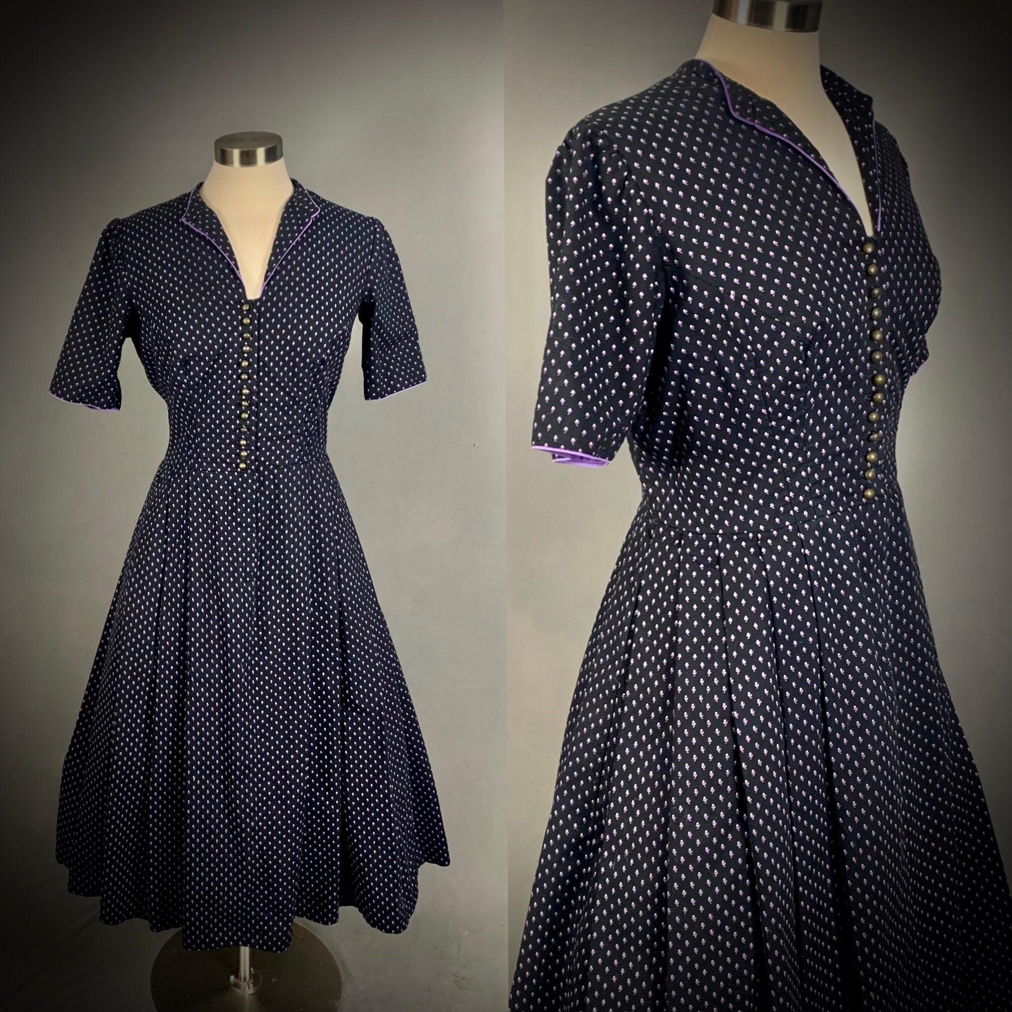 80s Dresses | Casual to Party Dresses Womens Vintage 80s Does 50s Cotton Shirtwaist Dress $0.00 AT vintagedancer.com