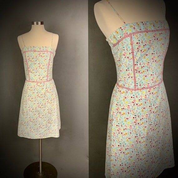 1980's Sundress  Floral Print and Lace  Spaghetti