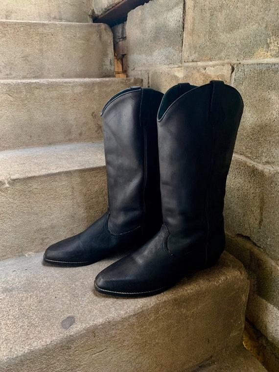 1970's Women's Black Square Toe Roper Cowboy Boots