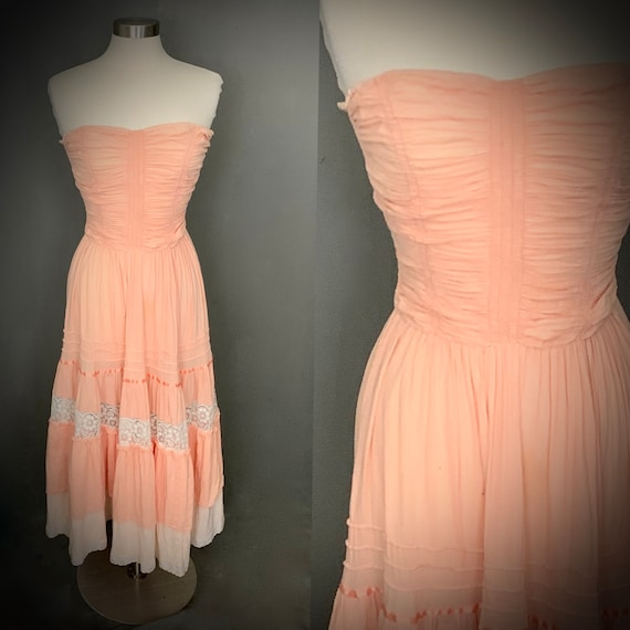 1970's Young Edwardian by Arpeja Strapless Boho Ru