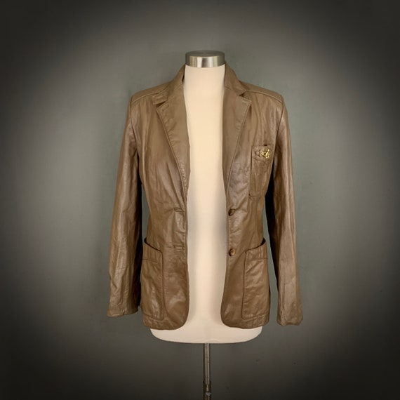 1970's Women's Taupe Brown Leather Fall Blazer Ja… - image 4