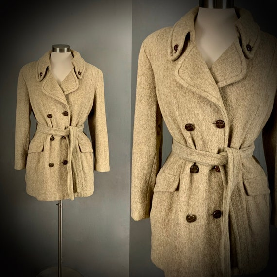 1970's Herman Kay Coat Belted Pea Coat Short Belte