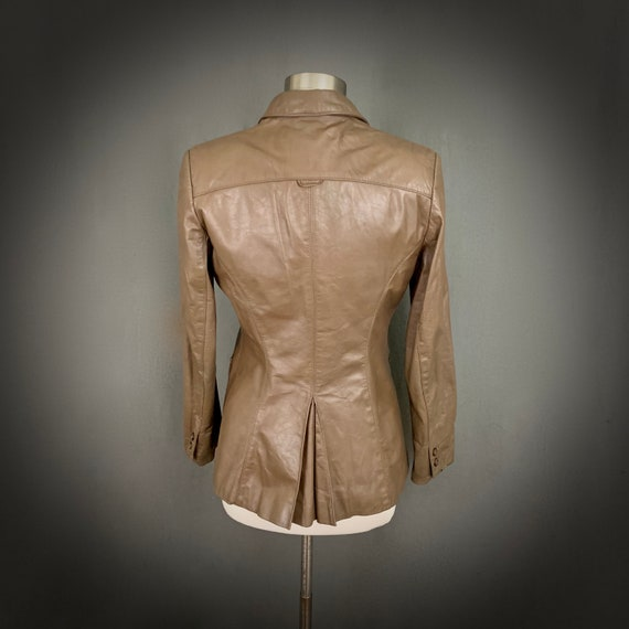 1970's Women's Taupe Brown Leather Fall Blazer Ja… - image 7