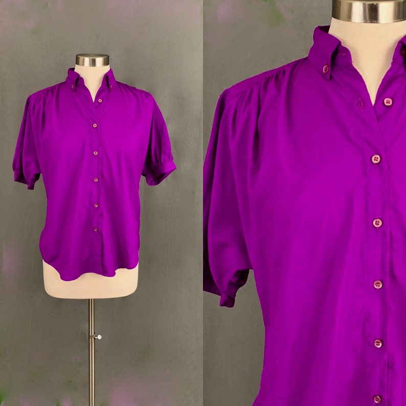 adc4bd702 80's Silky Short Sleeved Purple Button Down Women's | Etsy