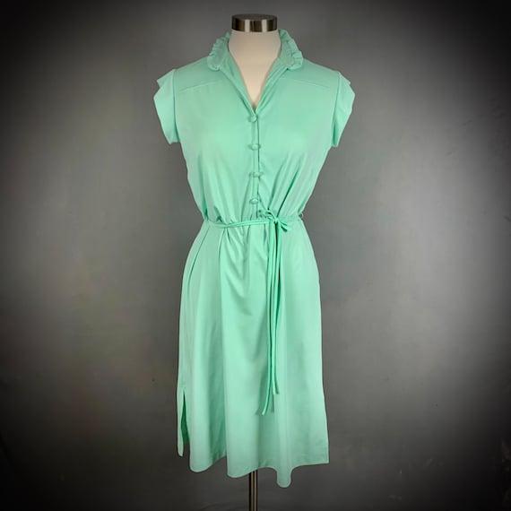 Vintage 70's Mint Green Short Sleeve Disco Dress - image 2