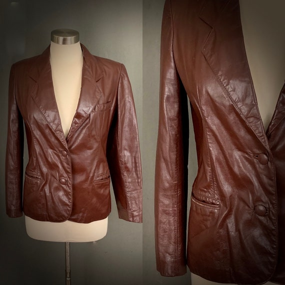 1970's Women's Oxblood Brown Leather Boho Blazer J