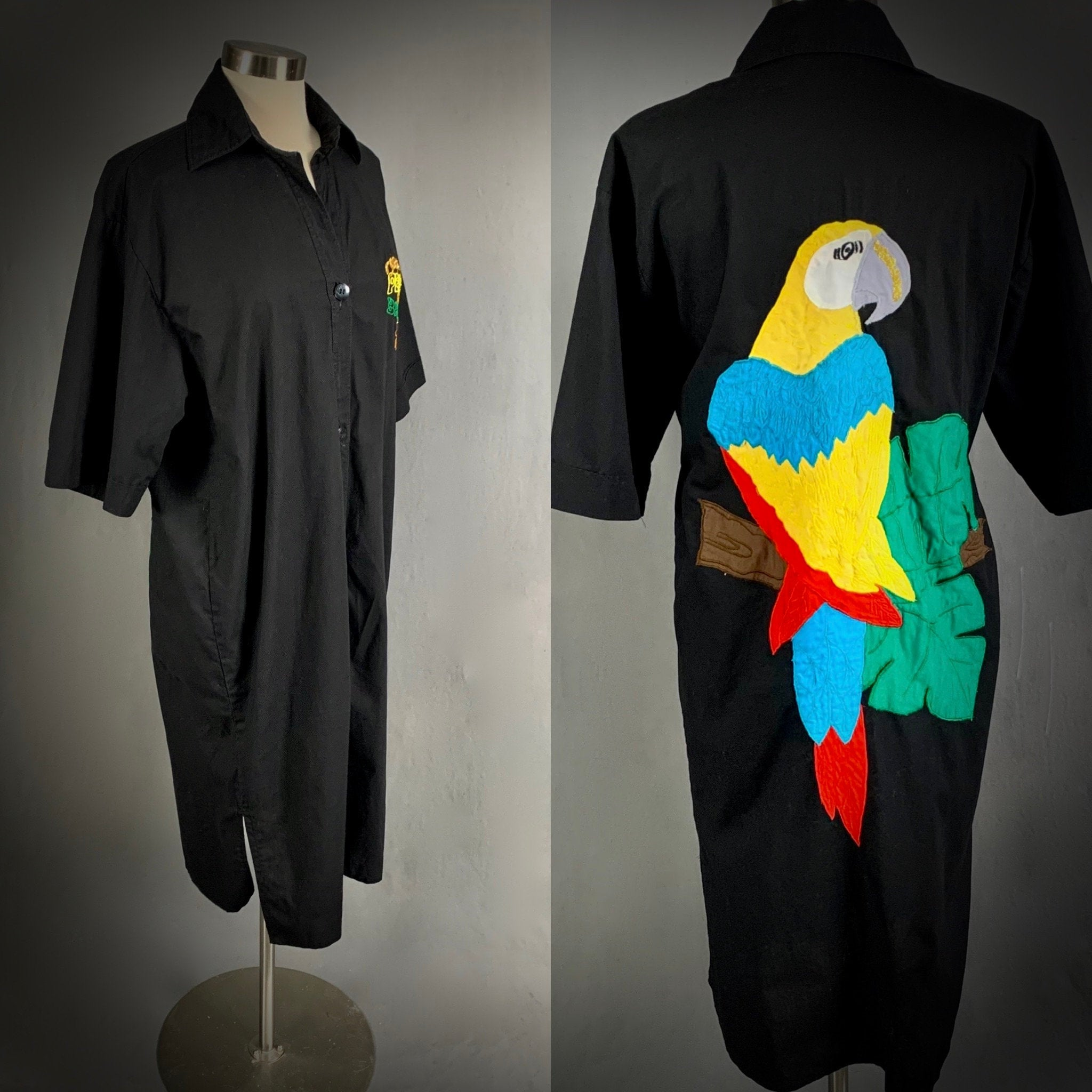 80s Dresses | Casual to Party Dresses 1980s Made in Brazil Button Down Parrot Dress Penca Do $0.00 AT vintagedancer.com