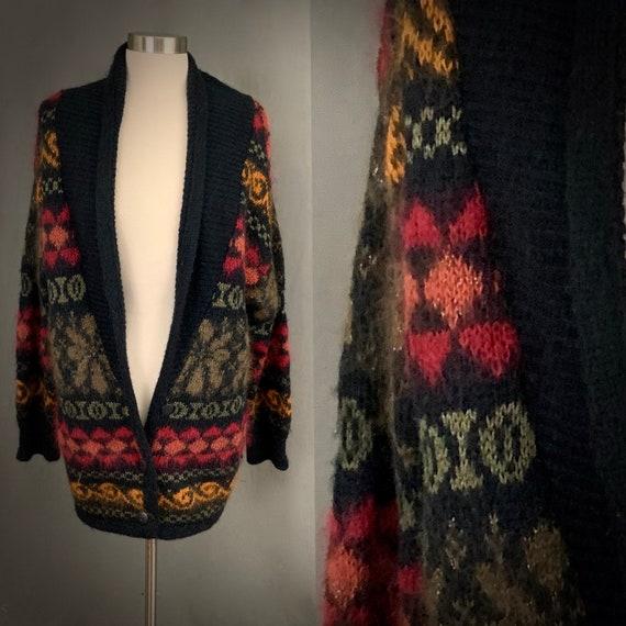 1980's Women's Mohair Wool Shawl Collar Oversized