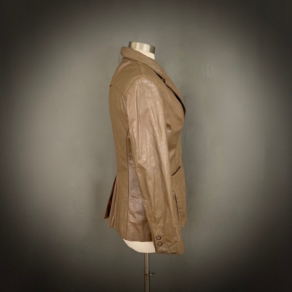 1970's Women's Taupe Brown Leather Fall Blazer Ja… - image 8