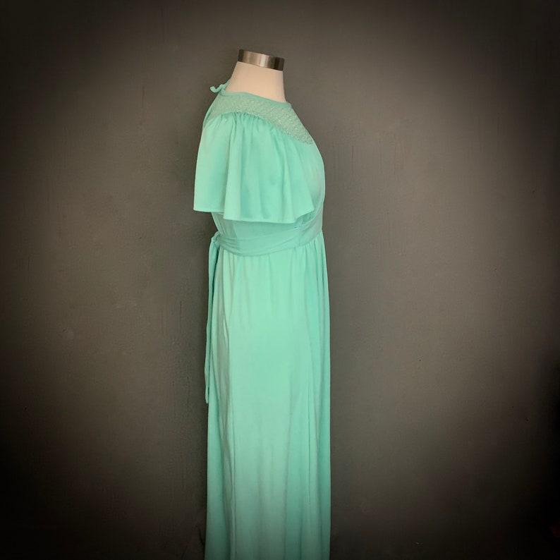 1970/'s Boho Maxi Dress  Crochet   Mint Green   Empire Waist Maxi Dress Boho Hippie Dress