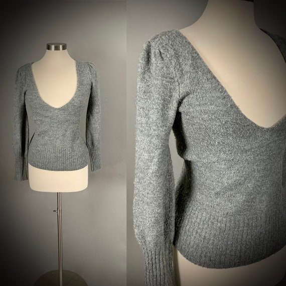 1970's Gray Deep V Pullover Sweater Gathered Puff