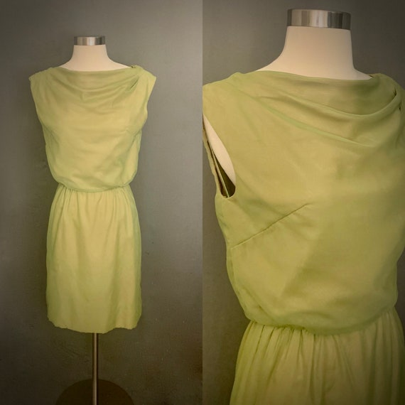 1960's Sheer Chiffon  Iridescent Green  Sleeveless