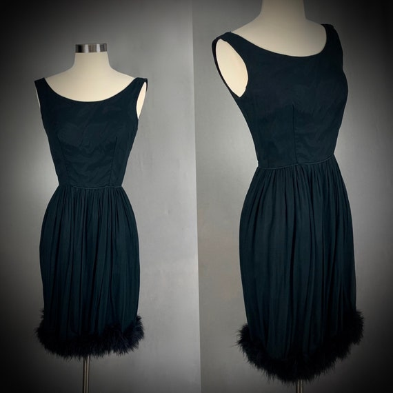 1950's Black Ostrich Feather Hem Chiffon Cocktail