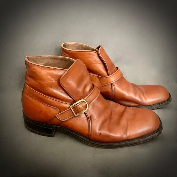 1970's Men'sSize 12 D  Leather Beatle Boots Ankle