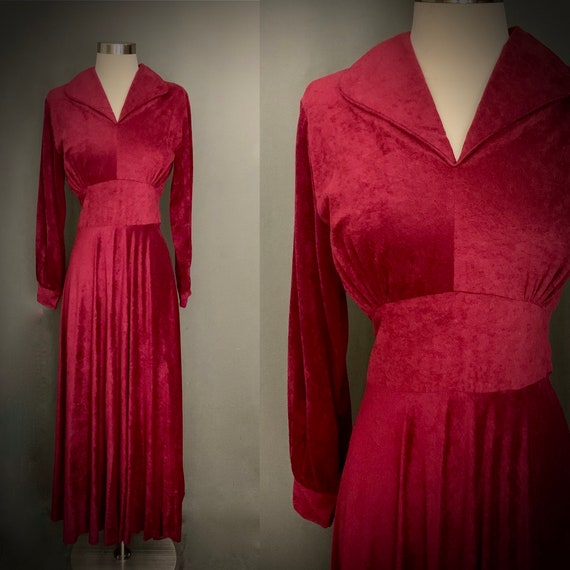 1970's Burgendy Velour Long Sleeve Maxi Dress