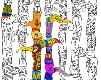 Druckbare Färbung Seite, Zentangled Bäume, Gewirr Muster, hand AntiStreß Malbücher, Färbung Seite Kinder, gezeichneten Färbung Seite, digitaler Download