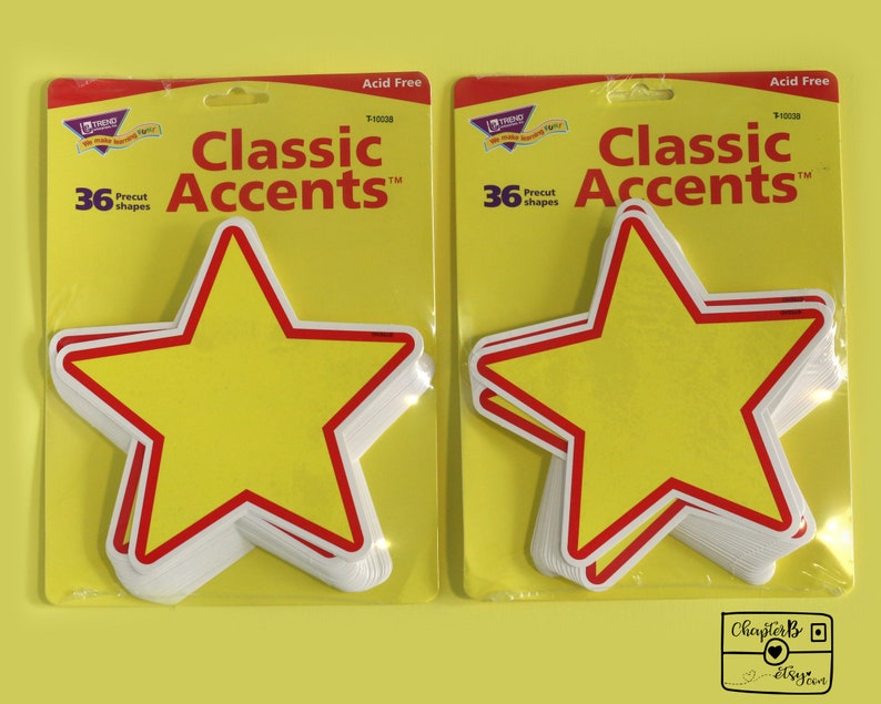 2 PACKS Trend Classic Accents,36 Precut Shapes,Rising Star,Yellow Stars,Acid Free,Arts Craft Supply,Learning Activities,Scrapbooking,Parties