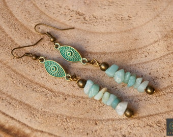 Boho chic turquoise earrings Long boho earrings Gypsy earrings Dangle Earrings Bohemian Turquoise Earrings Boho jewelry Unique woman gift