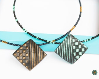 Geometric Colorful Pendant Modern Statement Necklace Minimalist Choker Black White Necklace Polymer Clay Jewelry Unique girlfriend gift