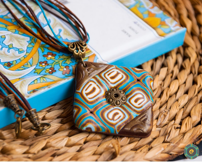 Ethnic blue brown bronze pendant necklace Boho necklace Boho pendant Polymer clay jewelry Unique woman gift