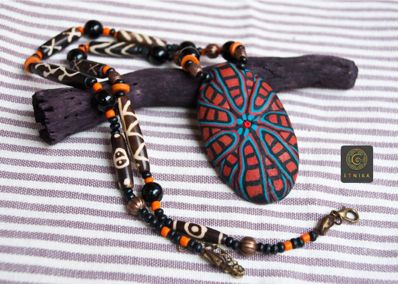 Tribal Long Black Agate Ethnic African Gypsy Pendant Necklace Polymer Clay Jewelry Unique Woman Gift for her