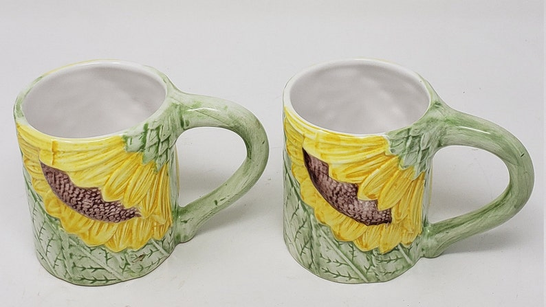 Set Of 2 Vintage Seymour Mann Sunflower Decorative Coffee Mugs Cups 1980 S