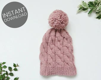 244eab964c6fb KNITTING PATTERN    Cable Hat Pattern