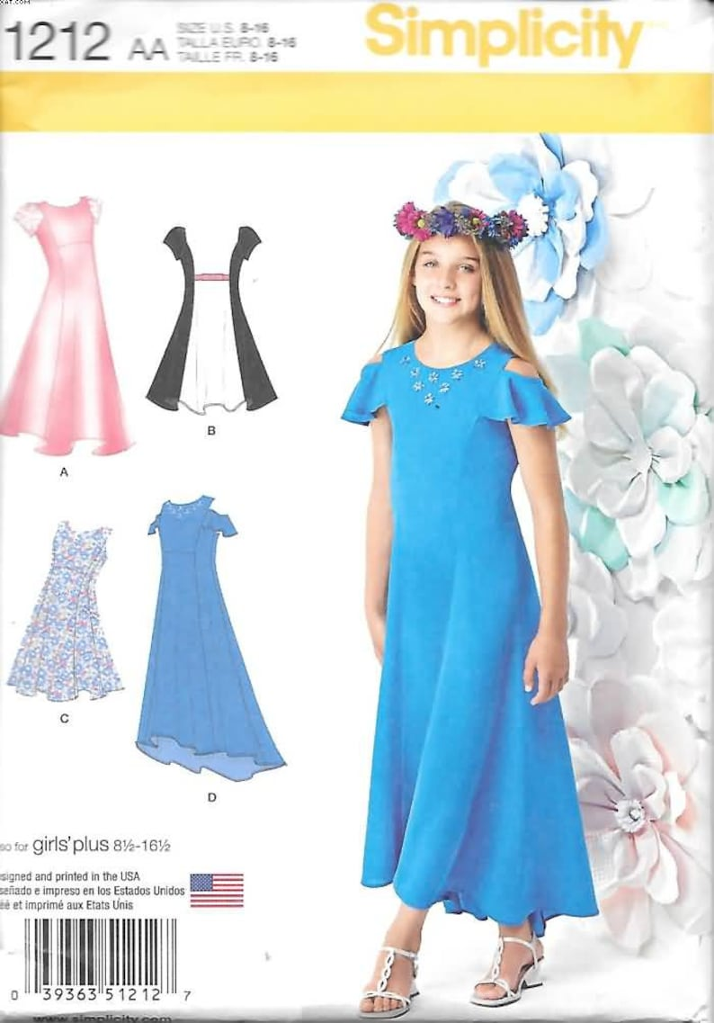 Girls Plus Size Special Occasion Dresses, Sizes 8 1/2 Thru 16 1/2, New  Simplicity Pattern 1212