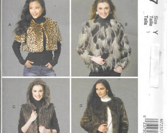 Misses Fur Coats, Vest, Shrug, Sizes Xsm Thru Med, New McCalls Pattern 7257