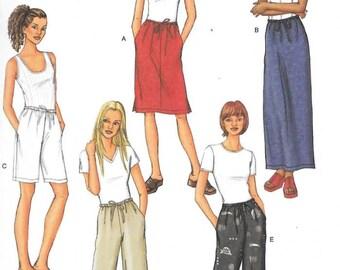 Misses'/Misses' Petite Elastic-Waist Skirts, Shorts and Pants Sizes 14 Thru 18 Butterick Pattern 3460