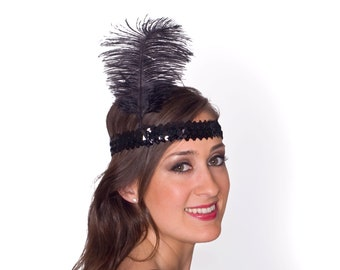 1920's Flapper Style Black or Silver Sequin and Feather Headpiece