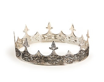 Medieval King's Crown Silver Crown for Men, Renaissance Middle Ages European Royal Highness Crown