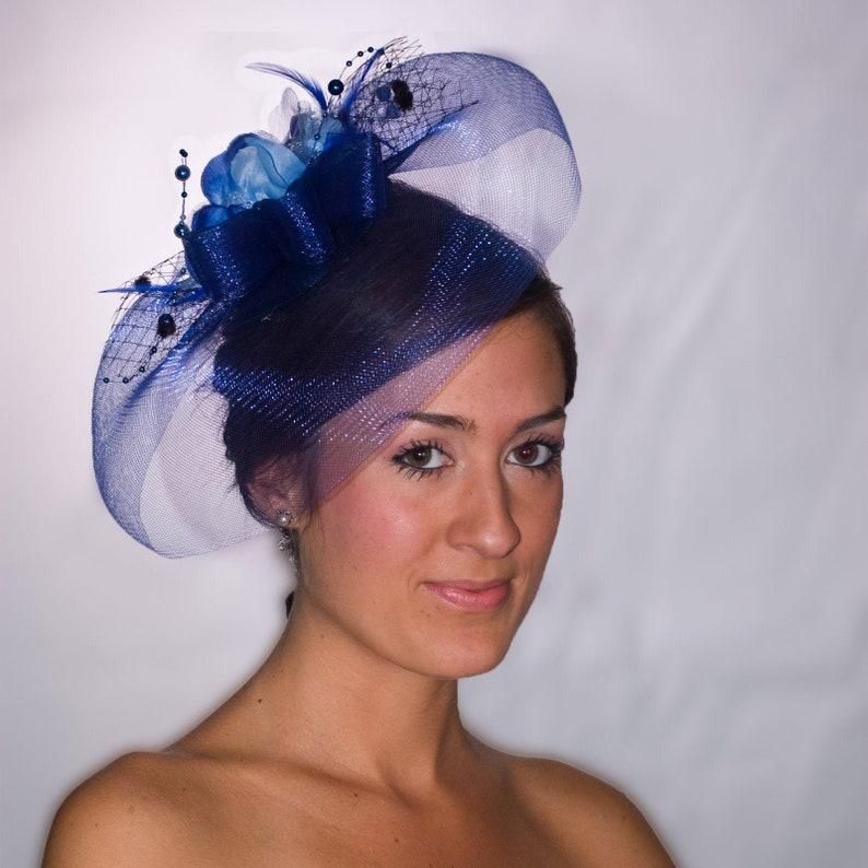 Wedding Headpiece Vintage Party Hat Parades of Blue Fascinator Derby Hat Hatinator Cocktail Hat