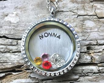 NONNA Birthstone Locket - Custom Floating Charm Locket for Grandma  - Memory Locket