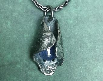 Dewdrop Dark Raw Silver pod pendant with Tanzanite, hand made