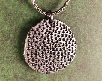 Reticulated Silver pendant 'Lotus', handmade