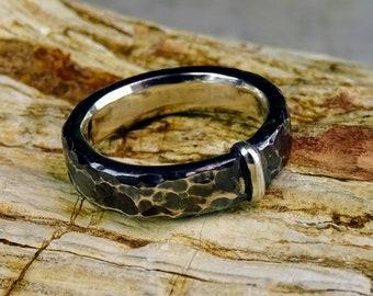 """Original Scottish, Saxon, Celtic wedding ring, handmade, Sterling Silver, 4.5 mm (3/16 """"), Highlands, Basia Mille"""