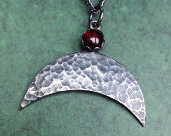 Dark Silver Viking Lunula pendant with Garnet, hand made