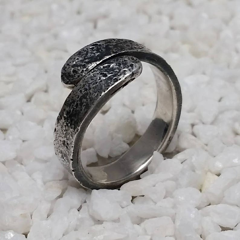 Fused silver Viking ring  US size image 0
