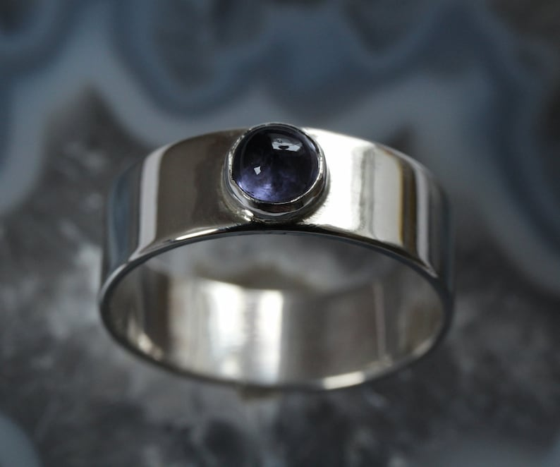 Silver ring with blue iolite  mm size image 0