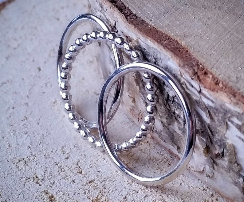 3 Silver handmade staking rings  mm size image 0